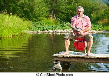 anziano, pesca, uomo