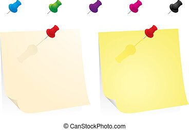 Yellow Paper With Colorful Pins
