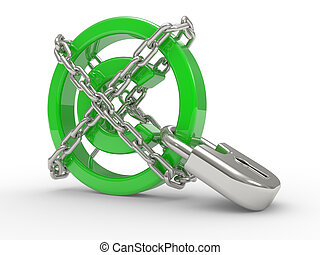 Copyright Protected with chains - green glossy copyright...