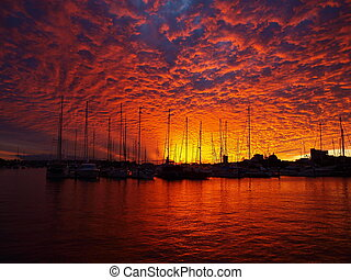 golpear, sobre, marina, pôr do sol, sangue, veleiros,...