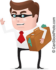 Stealing Money - Businessman with mask holding a briefcase...