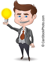 Another Great Idea - Businessman holding a light bulb Fuly...