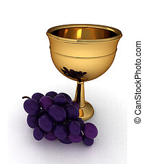 Chalice - 3D Illustration of a Chalice with Some Grapes...