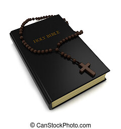 Bible and Rosary - 3D Illustration of a Bible and a Rosary