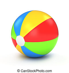Beach Ball - 3D Illustration of a Colorful Beach Ball