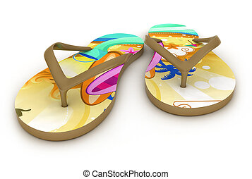 Flip-flops - 3D Illustration of Colorful Flip-flops