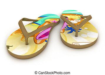 Flip-flops - 3D Illustration of Colorful Flip-flops