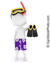 Snorkeling - 3D Illustration of a Man Wearing Snorkeling...