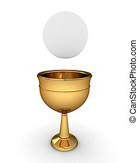 Chalice - 3D Illustration of a Chalice with a Host/Hostia