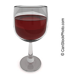 Red Wine - 3D Illustration of a Glass with Red Wine