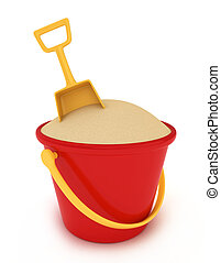 Sand Bucket - 3D Illustration of a Bucket of Sand