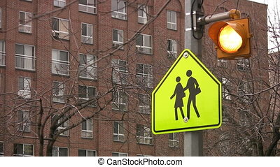 School crossing. - Bright school crossing sign and flashing...