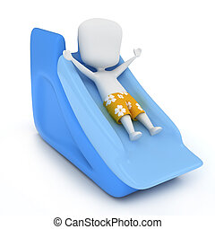 Pool Slide - 3D Illustration of a Kid Sliding Down