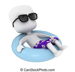 Floating - 3D Illustration of a Floating Man Isolated on...