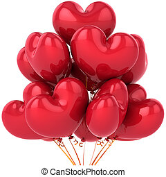 Red balloons Love heart shaped