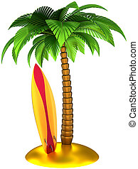 Surfboard and palm tree tropical - Palm tree and surfboard...