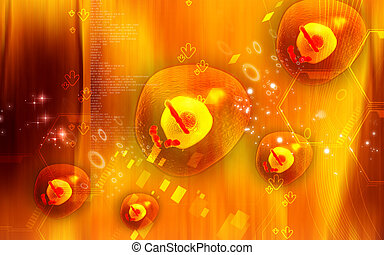 Human cell - Digital illustration of human cell in color...