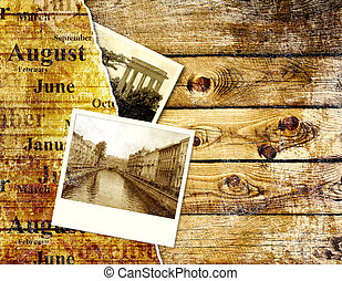 Memories - Grunge background with old photo and wood texture