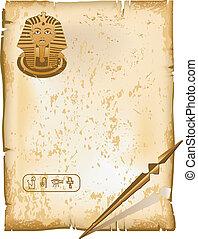 Hieroglyphic alphabet symbols - old letter, paper texture,...