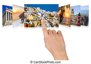 Hand scrolling Greece travel images - nature and tourism...