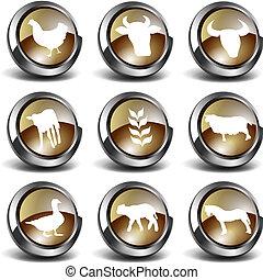 3D Farm Icons  - 3d button/icon farm set