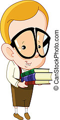 Nerd kid carrying books