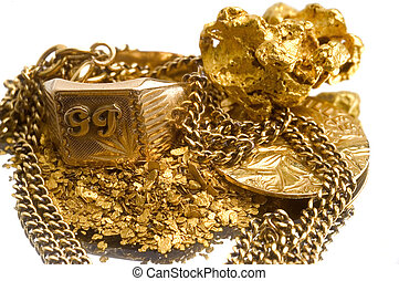 recovery of old jewels - Gold jewels to illustrate the...