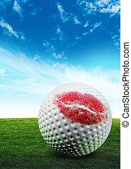 golfe, bola, beijo