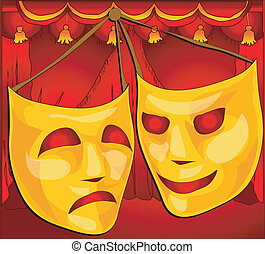 Theatre masks - Classic comedy-tragedy theatre masks against...