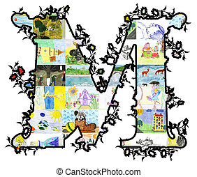 Letter M. - The letter M of children's drawings. Made by...