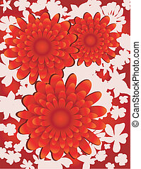 Floral background on white