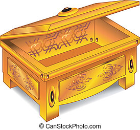 Gold antique chest - Isolated antique wooden chest inlaid...
