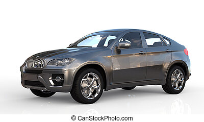 BMW X6 isolated on white with ground reflection