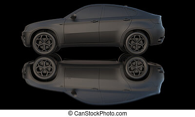 Car dark clay 3d rendering