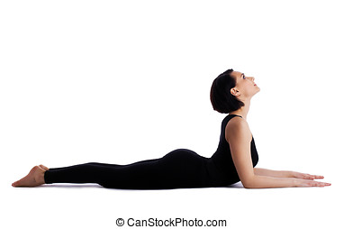 woman back bends yoga asana - sphinx pose isolated - young...