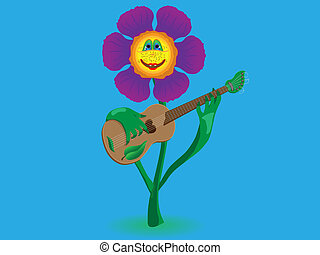 Cheerful flower plays music on the