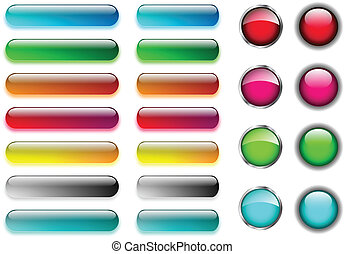 Web buttons set - Colorful blank and glossy web buttons set