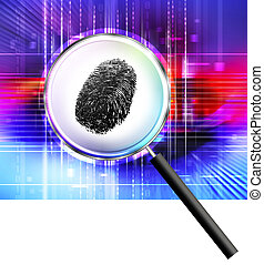 Finger print under magnifying glass
