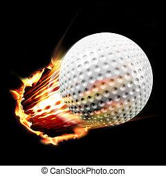 Golf ball through fire