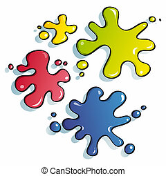 funny spots of paint - drops of paint for funny children...