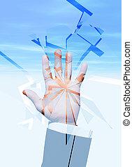 Hand breaking glass