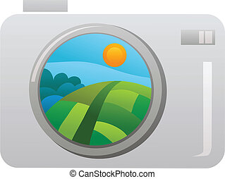 camera taking picture of spring meadow , vector illustration