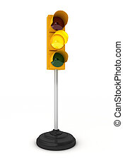 Yellow traffic light - Toy traffic light over white...