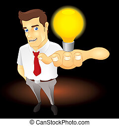 Great Idea - Businessman with light bulb on his hand Fully...