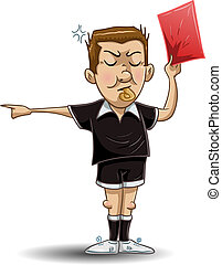 futebol, árbitro, segura, vermelho, cartão