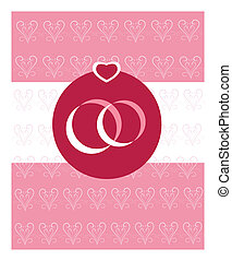 two wedding rings on pink hearts background