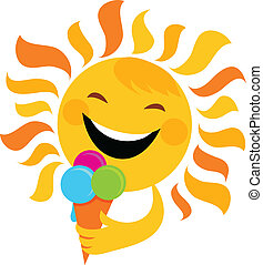 smiling sun eating ice cream , vector illustration
