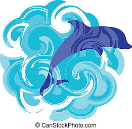 representation of a wavy sea with jumping dolphin -...