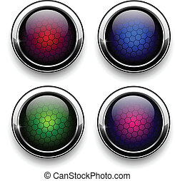 Web buttons set - metallic with hexagon pattern , vector