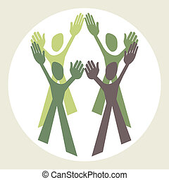 Teamwork design vector - Teamwork design within a circular...